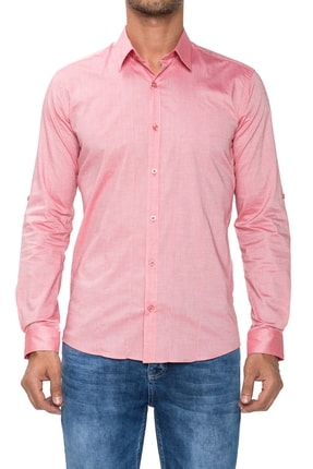 Efor Gk 475 Slim Fit Mercan Klasik Gömlek 0