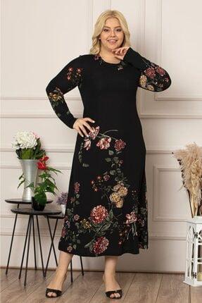 1fazlası Kadın Siyah Çiçek Desen Uzun Esnek Krep Elbise 0
