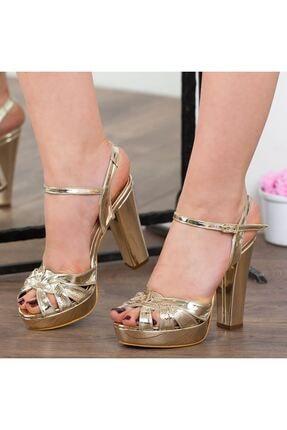 Adım Adım Altın Rugan Yüksek Topuk Bilekten Bağlama Abiye Gelin Kadın Ayakkabı • A182ymon00010 2