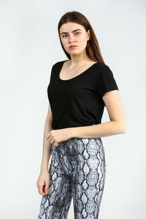 Collezione Sıyah Kısa Kollu Basic Kadın Tshirt 0