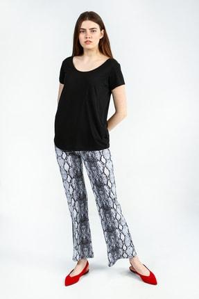 Collezione Sıyah Kısa Kollu Basic Kadın Tshirt 1