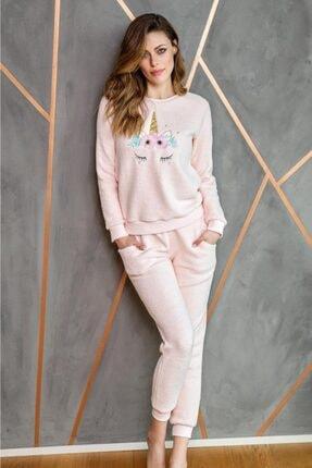 Anıl 9540 Kadın Pijama Polar Unicornlu Sweatshirt Pantolon Tk. 0