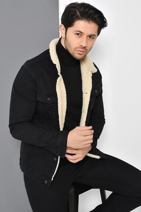 Tena Moda Erkek Siyah Kürklü Kot Mont Ceket 0