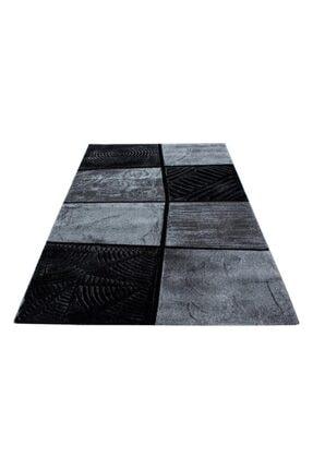 AYYILDIZ Modern Desenli Halı Kare Motifli Taramalı Tasarım Siyah Gri 4