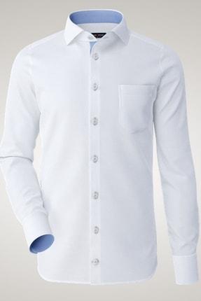 Mavi Detaylı Beyaz Klasik Erkek Gömlek 26003