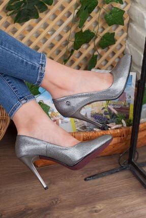 Mammamia Platin Simli Detay Hakiki Deri Stiletto Topuk Kadın Ayakkabı • A202kdyl0042 1