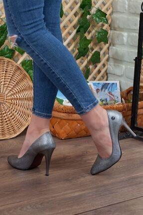 Mammamia Platin Simli Detay Hakiki Deri Stiletto Topuk Kadın Ayakkabı • A202kdyl0042 4
