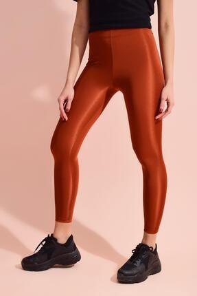Tena Moda Kadın Kiremit Spandex Düz Tayt 2