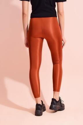 Tena Moda Kadın Kiremit Spandex Düz Tayt 3