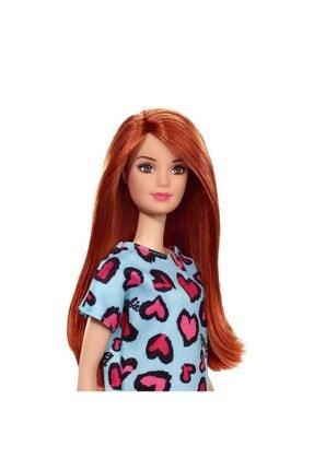 Barbie Şık Koleksiyon Model Bebek Kızıl Saçlı Mavi Kalpli Elbiseli 1