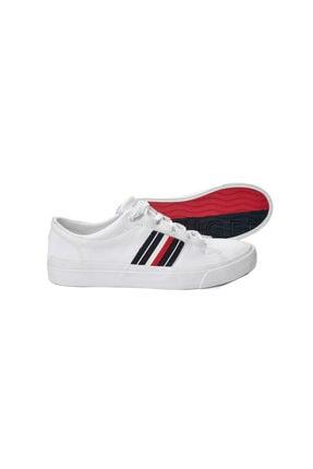 Tommy Hilfiger Beyaz Erkek Oxford/ayakkabı Fm0fm01943 100 Corporate Leather Low Sneaker Low Cut Whıt 2