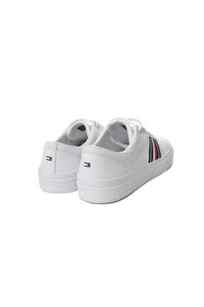 Tommy Hilfiger Beyaz Erkek Oxford/ayakkabı Fm0fm01943 100 Corporate Leather Low Sneaker Low Cut Whıt 4