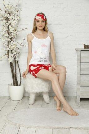 Tena Moda Kadın Ekru Ip Askılı Atletli Şortlu Bulut Baskılı Pijama Takımı 1