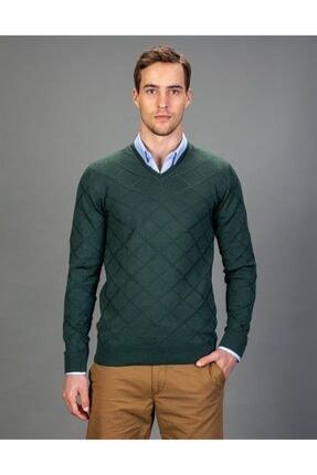 Tudors V Yaka Desenli Yeşil Erkek Kazak 0