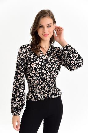 Tena Moda Kadın Siyah-bej Örme Crep Gipeli Bluz 0