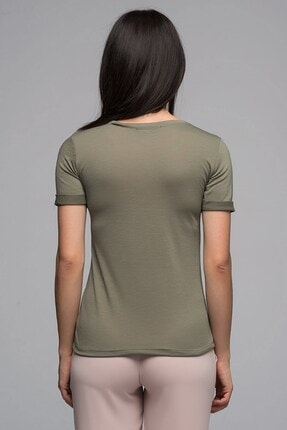 Cotton Mood 7130562 Leylek Nakışlı V Yaka Boyfriend Kısa Kol Bluz Hakı 1