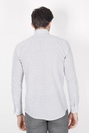 Jakamen Beyaz Slim Fit Cepsiz Desenli Gömlek 2