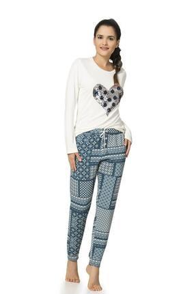 1034 Desenli Penye Kadın Pijama Takımı resmi