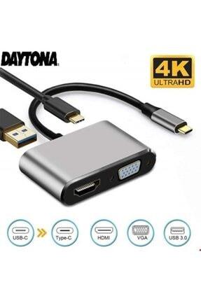 Daytona 4in1 Macbook Uyumlu Type-c To 4k Hdmı/vga/pd Şarj/usb3.0 Hub Adaptör 1