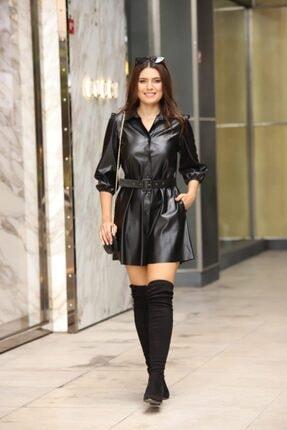 Estelle Giyim Kadın Deri Düğmeli Kemerli Bayan Elbise Estll0694 0