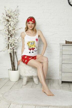 Tena Moda Kadın Ekru Ip Askılı Atletli Şortlu Sponge Bob Baskılı Pijama Takımı 1