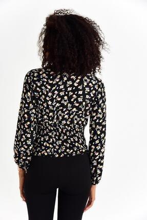 Tena Moda Kadın Sarı Çiçekli Örme Crep Gipeli Bluz 4