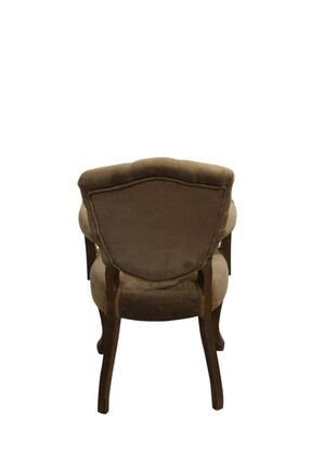 BENGİ TİCARET Bengi Lüx Kolçaklı Ahşap Berjer Sandalye Kahve 3