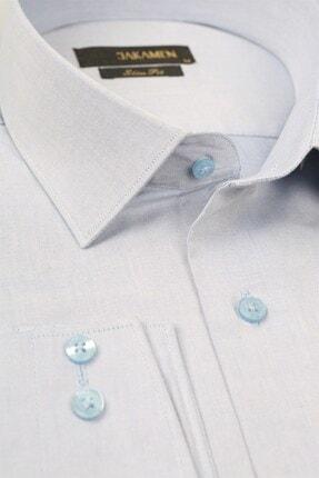 Jakamen Mavi Slim Fit Cepsiz Desenli Gömlek 1