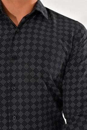 Efor G 1425 Slim Fit Siyah Spor Gömlek 4