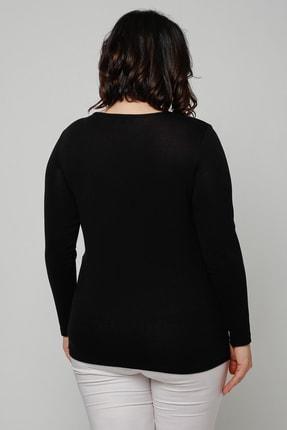Ebsumu Kadın Büyük Beden Taş Ve Deri Görünümlü Parça Detay Siyah Bluz 1