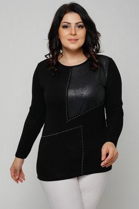Ebsumu Kadın Büyük Beden Taş Ve Deri Görünümlü Parça Detay Siyah Bluz 2