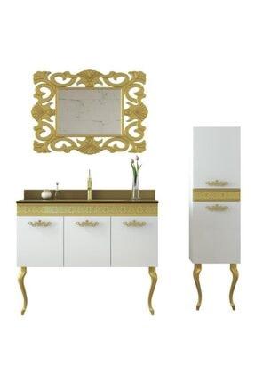 Housepack Gold Beyaz 135 Cm Boy Dolaplı Cam Lavabolu Lüx Banyo Takımı 4