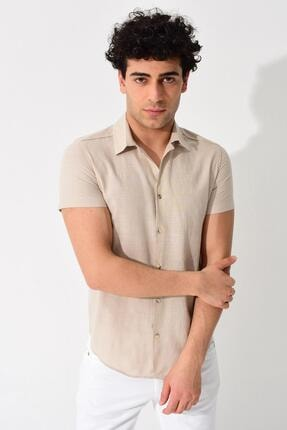 Tena Moda Erkek Taş Kısa Kollu Apaş Yaka Regular Keten Gömlek 3