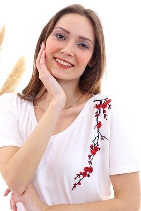 Cotton Mood 20050526 Süprem Omuzu Çiçek Nakışlı Kısa Kol Bluz Ekru 0