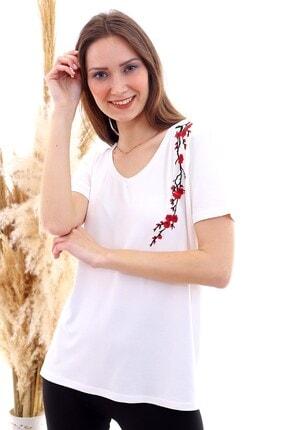Cotton Mood 20050526 Süprem Omuzu Çiçek Nakışlı Kısa Kol Bluz Ekru 3