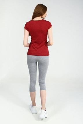 Collezione Kırmızı Yuvarlak Kesim Kısa Kollu Basic Kadın Tshirt 3