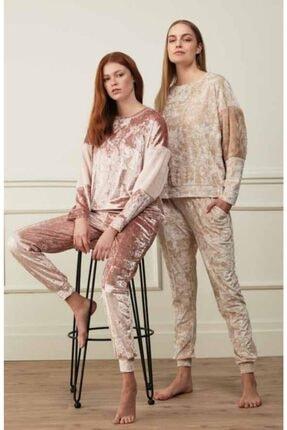 Feyza 3504 Kadın Kadife Pijama Takımı Pembe 0