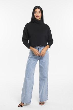 TAKE7 Kadın Siyah Boğazlı Örme Sweatshirt 2