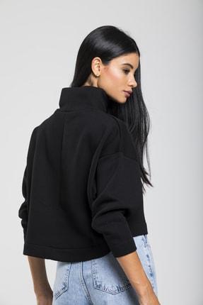 TAKE7 Kadın Siyah Boğazlı Örme Sweatshirt 3