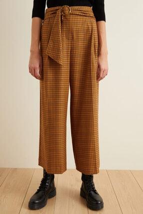 adL Kadın Tarçın Beli Kuşaklı Bol Ekose Pantolon 2