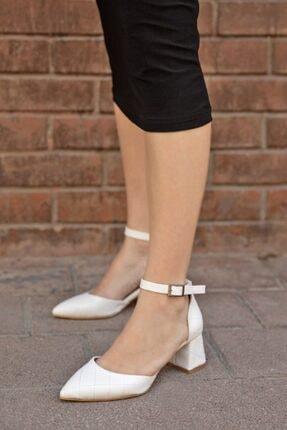 Straswans Holly Deri Kapitoneli Topuklu Ayakkabı Beyaz 1