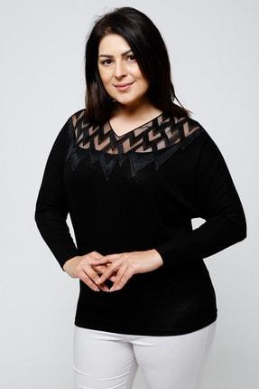 Ebsumu Kadın Büyük Beden Yakası Işlemeli Yarasa Kol Siyah Bluz 2