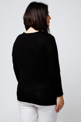 Ebsumu Kadın Büyük Beden Yakası Işlemeli Yarasa Kol Siyah Bluz 4