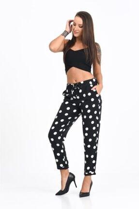 Modkofoni Belden Lastikli Ve Bağcıklı Duble Paça Beyaz Puantiyeli Viskon Siyah Pantolon 1
