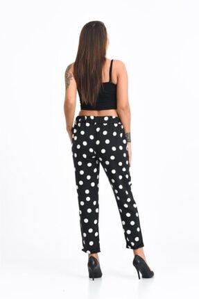 Modkofoni Belden Lastikli Ve Bağcıklı Duble Paça Beyaz Puantiyeli Viskon Siyah Pantolon 4