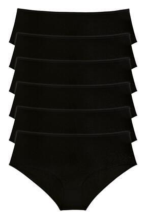 LadyMelex Kadın Siyah 6'lı Paket Yüksek Bel Bato Külot 0