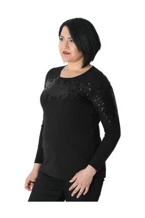 Günay Kadın Bluz Nly1008 Sonbahar Kış O Yaka Pul Detay-sıyah 1