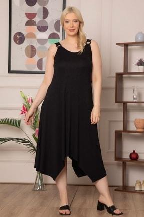 1fazlası Kadın Büyükbeden Genis Askılı Omzu Halka Detaylı Elbise 0