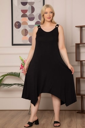 1fazlası Kadın Büyükbeden Genis Askılı Omzu Halka Detaylı Elbise 2