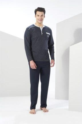 20415 Interlok Pamuklu Uzun Kol Erkek Pijama Takım resmi